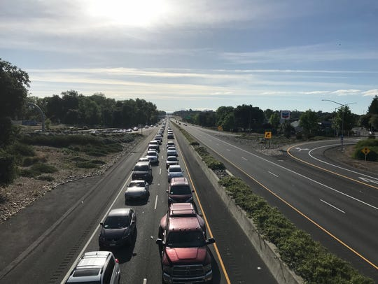 Westbound traffic on Highway 44 was backed up past