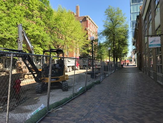 Construction in downtown Iowa City's pedestrian mall