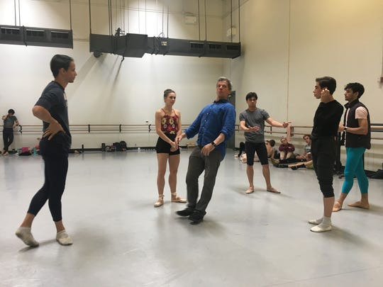 "Ballet Arizona artistic director Ib Andersen demonstrates a step during rehearsal for ""Eroica."""