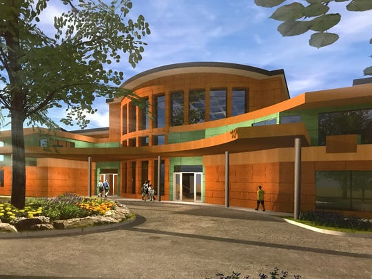 This image shows an art rendering of the proposed Center of Hope at 1201 Industrial St. in Redding.