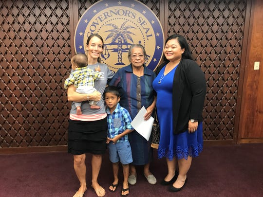 Bethany Taylor, nine year foster parent and director of Harvest House Guam, with her two sons, Rufina Tainatongo, a foster parent for 38 years, and Jenei A. Aguon, the vice president of Guam Foster Families Association.