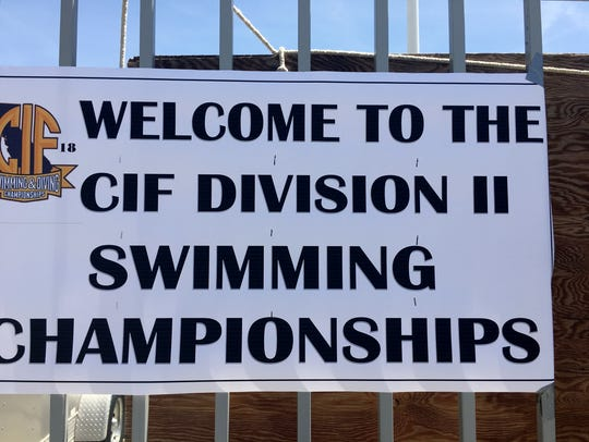 A welcome sign posted at the CIF Division II swim meet
