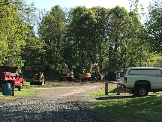 The old picnic pavilion at Redmond Park has been removed