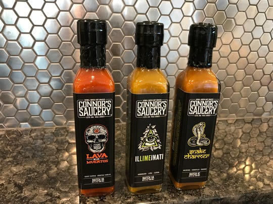 Connor's Saucery's first three products are Lava De Los Muertos, Illimeinati and Snake Charmer.