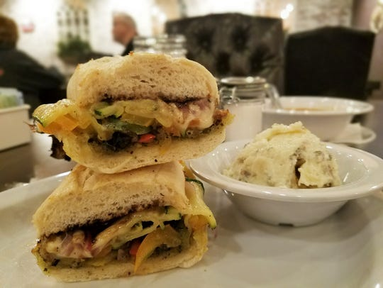 The Grilled Veggie Italiano sandwich contains a pile