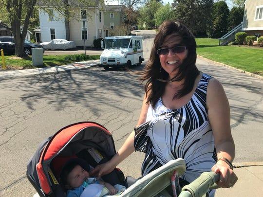 Karen Alguire of Fairport enjoys a walk near the Erie