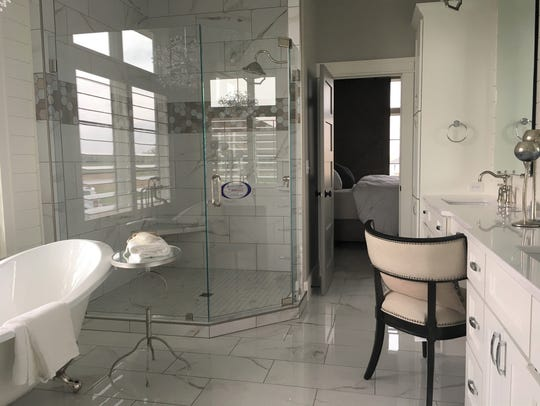 Inside the master bathroom at 505 E. Shadow Creek Lane,