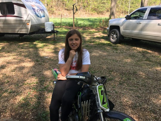 Gracie Sheets, 10, is the only girl in her dirt bike