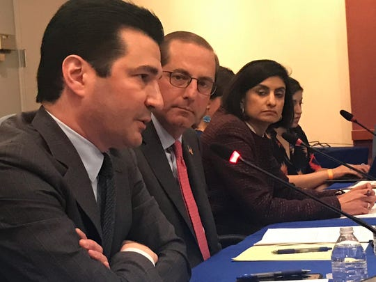 Food and Drug Administration Commissioner Scott Gottlieb, a physician, Health and Human Services Secretary Alex Azar and Centers for Medicare and Medicaid Services Administrators Seema Verma at a press briefing on the administration new drug pricing proposals on May 14, 2018