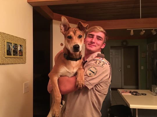Bryan Fogg and his dog, Copper