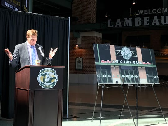 Green Bay Packers President and CEO Mark Murphy talks about the new sponsorship deal with Kwik Trip on Tuesday, May 15, 2018 at Lambeau Field.