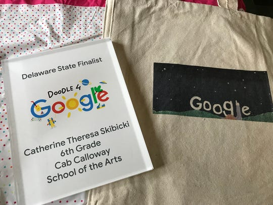 Catherine Skibicki, a sixth-grader at Cab Calloway School of the Arts, is one of 53 finalists in this year's Doodle 4 Google contest. One of her prizes was a tote bag with her doodle printed on it.
