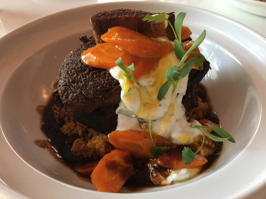"""Tagine of """"Osso Bucco"""" Beef Shortrib at Pink Cabana at The Sands in Indian Wells."""