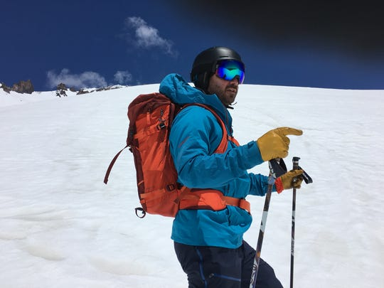 USA TODAY Network outdoors writer prepares to start a ski descent in Avalanche Gulch on Mt. Shasta.