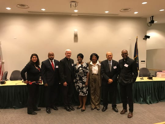 From L: Rabbi Ariel Russo, Rev. Gregory Merriweather, Father Bill Cosgrove, Rev. Dr. Jairite Anderson-Cole, Human Rights Commission Constance Frazier, Dr. Azeem Farooki, Father Owen Thompson at the Rockland Interfaith Symposium hosted by the county Human Rights Commission at Rockland Community College.