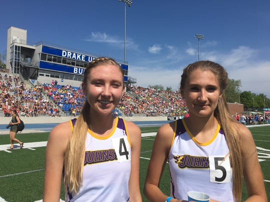 Johnston sisters Jessica (left) and Brooklyn McKee are running in their final high school state track meet together this week.