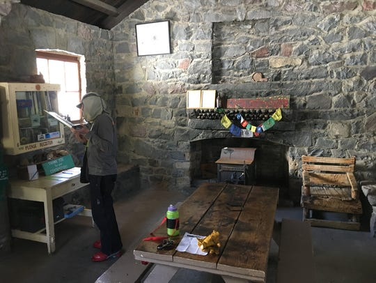 Inside the historic Sierra Club hut at Horse Camp on