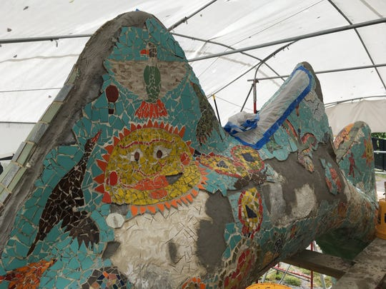 The dragon at Fannie Mae Dees Park, which opened in