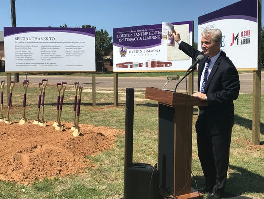 Eric Bruntmyer, president of Hardin-Simmons University, addresses a crowd at the groundbreaking of the Houston-Lantrip Center for Literacy and Learning May 17.