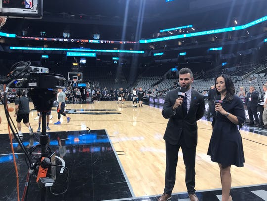 Spero Dedes and Stephanie Ready prepare to call a game
