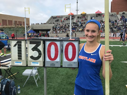 Westlake High freshman Paige Sommers celebrates her