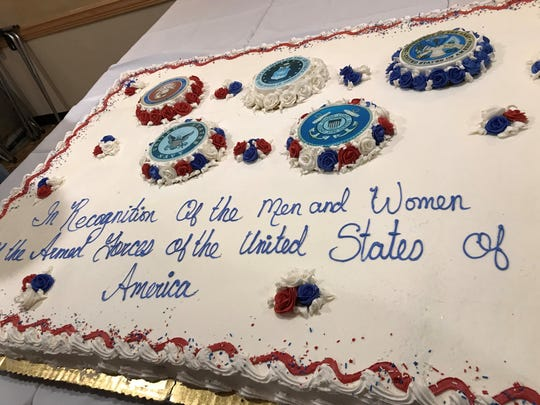 Cake honoring all branches of service at the Armed Forces Day luncheon