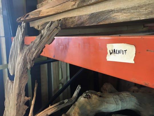 A close-up of part of Contour's wood storage area.