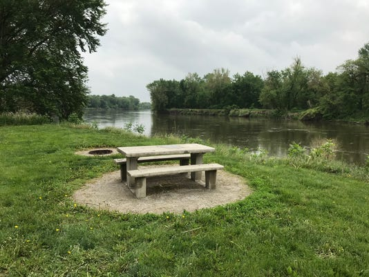 Iowa City River Junction Park Lone Tree picnic table fire pit
