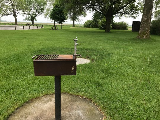 A grill at Scott Church Park in eastern Iowa City is