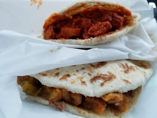 The Chile Colorado and Green Chile Chicharron gorditas with beans.
