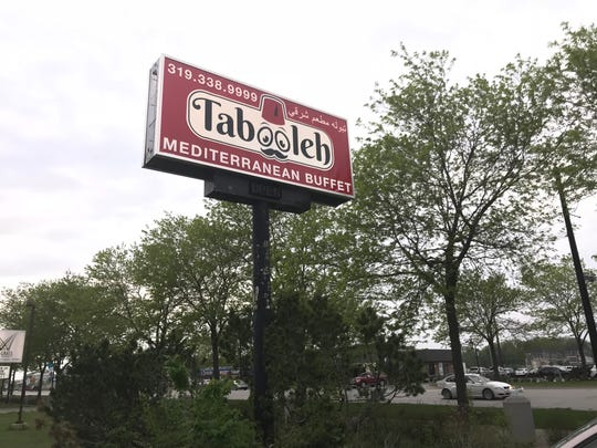 The sign for Tabooleh Mediterranean Buffet in Coralville