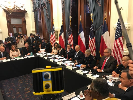 Gov. Greg Abbott opens the first round-table discussion