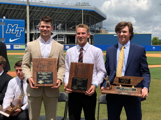 The three finalists for TBCA Class AAA Mr. Baseball were, from left, Siegel's Drew Benefield, Brighton's Eli Davis and Farragut's Parker Noland. Noland, who won the award, is an MTSU commitment.