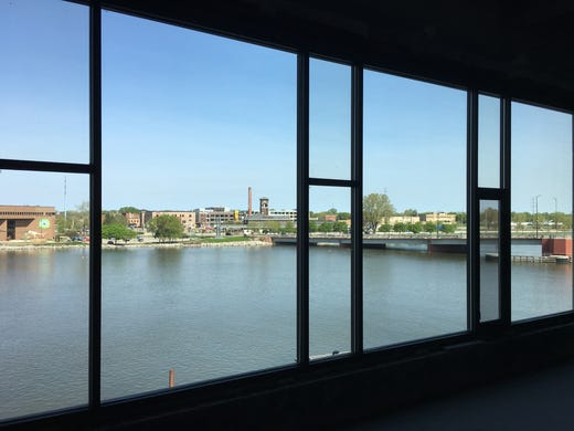 The view of the Fox River and Rail Yard District from