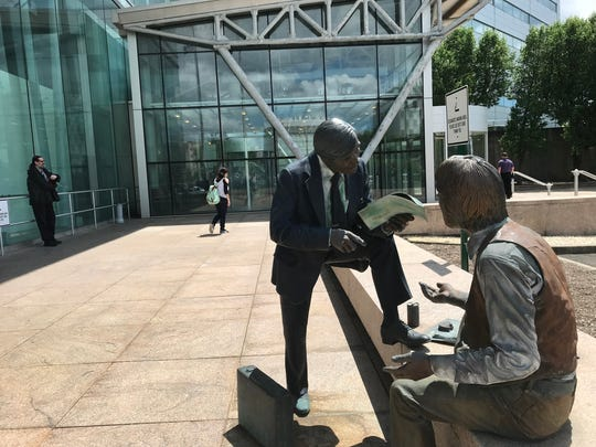 A statue outside of the Richard J. Hughes Justice Complex in Trenton on Wednesday, May 23, 2018.