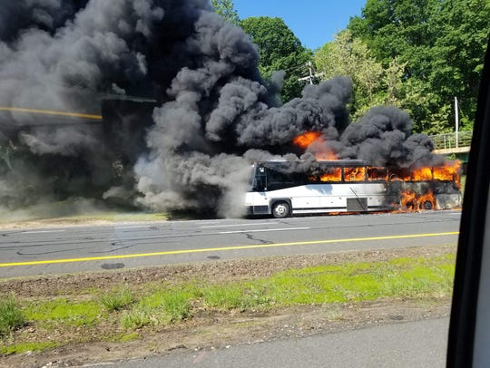 Bus fire on the Garden State Parkway local lanes southbound