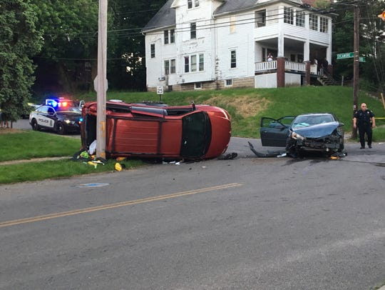 A father and child were injured in a crash at West