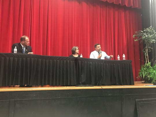 Westmoreland Police Chief Ray Amalfitano (right) participated in a Q&A town hall meeting at Westmoreland Middle School in May to discuss the drug addiction epidemic.