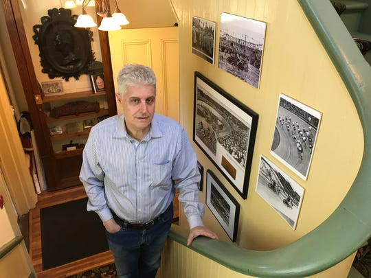 Michael Gabriele, of Clifton, poses at the Nutley Velodrome exhibit on May 24, 2018, in the Nutley Museum on Church Street.