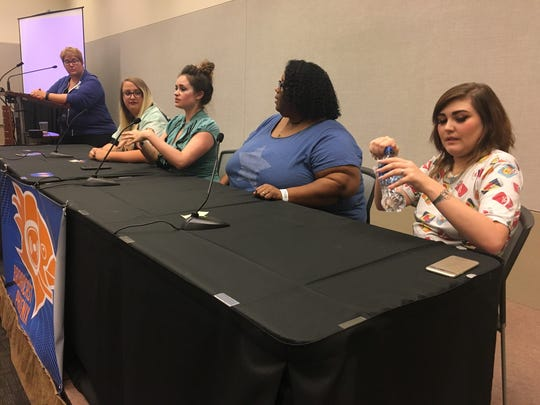 "Twitch gamer ""NoEnchilada"" right at the ""Women in Gaming and Streaming"" panel at Phoenix Comic Fest on May 25, 2018."