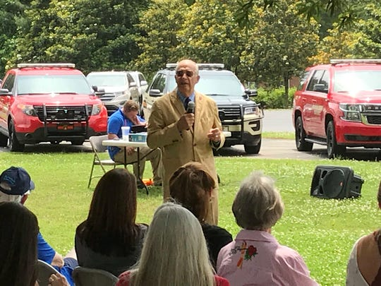 Former Marines Lieutenant General John Castellaw speaks during the Flags of Freedom ceremony last Tuesday.