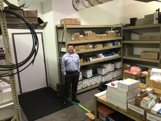 Fleenor Security Systems' office includes a parts room for field techs.