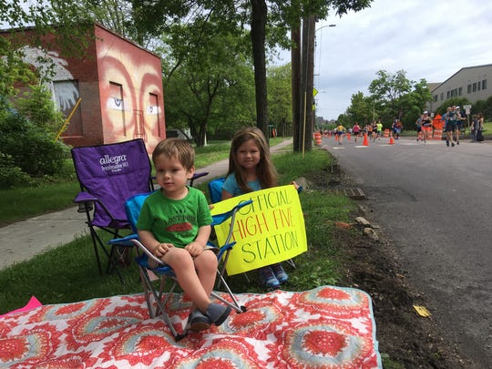 McKenna Adams, 5, and her brother Kyle Adams, 3, of