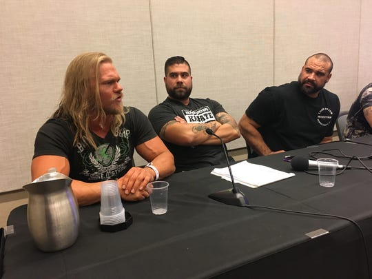 "Wrestler (and ""Nothing to Prove"" podcaster) Dom Vitalli at Phoenix Comic Fest, May 27, 2018."