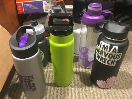 Reusable water bottles were common items in the lost