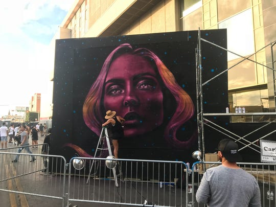 Artwork was being created live Sunday at Neon Desert.