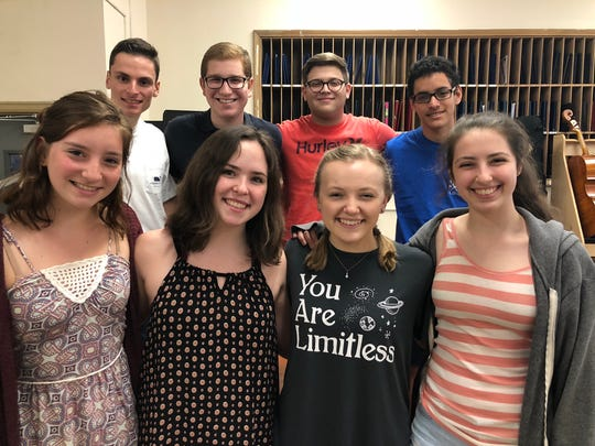 Eight Westfield High School student vocalists have been accepted into 2018-2019 All-State Choruses. (Front row, from left):  Samantha Horvath, Alison Brown, Nicole Player, Charlotte Geary.  (Back row, from left):  Vincent Mora, Matthew Siroty, Zachary Lemberg, Joseph Maldonado.