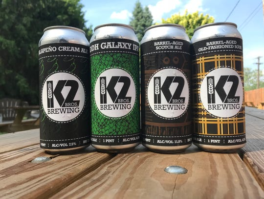 The first four canned beers at K2 Brothers Brewing