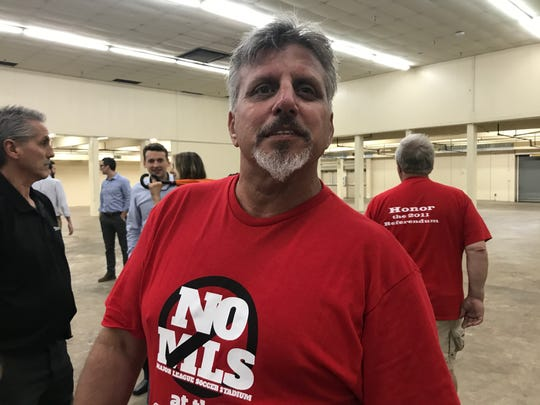 MLS opposer, Shane Smiley poses for a portrait following a dispute between Smiley and the chairman of the Metro Board of Fair Commissioners at public meeting on a new fairgrounds master plan on Tuesday, May 29, 2018.