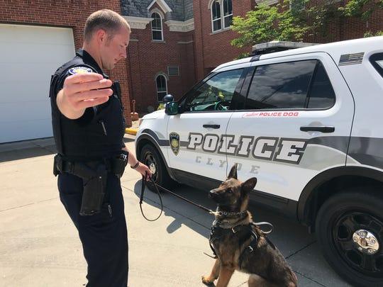 Clyde Police K-9 handler Tony Travagliante gets the